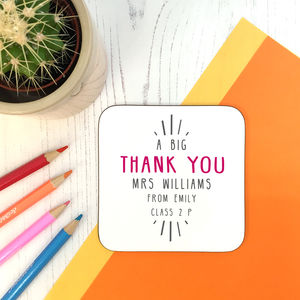 Personalised 'Big Thank You' Teacher Coaster - personalised