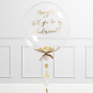 'Will You Be My Bridesmaid?' Gold Bubble Balloon