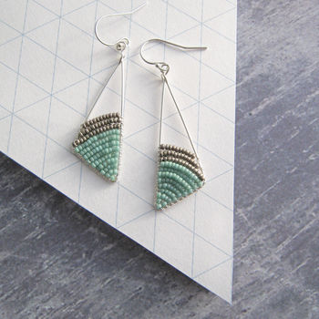 Silver Beaded Geometric Triangle Earrings