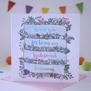 Bridesmaid Thank You Card Watercolour Floral Banner