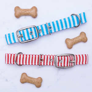 Red Or Blue Striped Dog Collar - dog collars