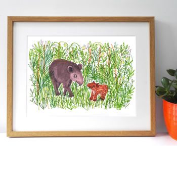 Children's Room Jungle Animal Tapir Giclee Print