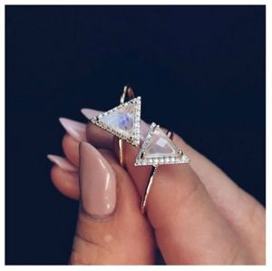 14k Gold Vermeil Triangle Diamond Ring - rings