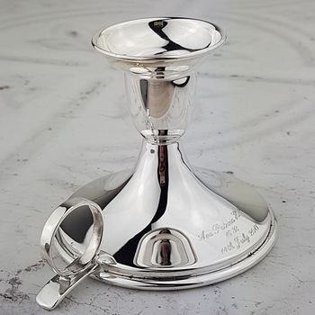 Personalised Silver Christening Candlestick Holder