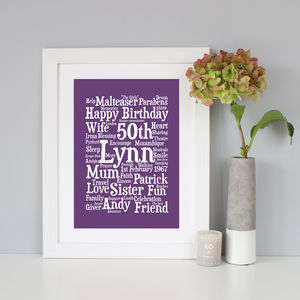 Personalised 50th Birthday Word Art Gift - posters & prints