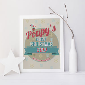 Personalised Baby's First Christmas Nursery Print