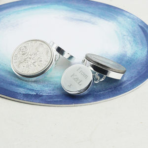 Personalised Silver Sixpence Cufflinks 1928 To 1967