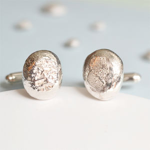 Handmade Solid Silver Pebble Cufflinks