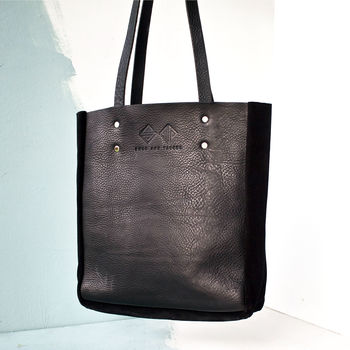 Handcrafted Black Leather Tote Bag