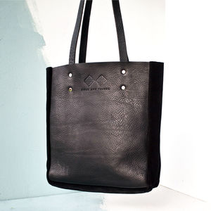 Handcrafted Black Leather Tote Bag - womens