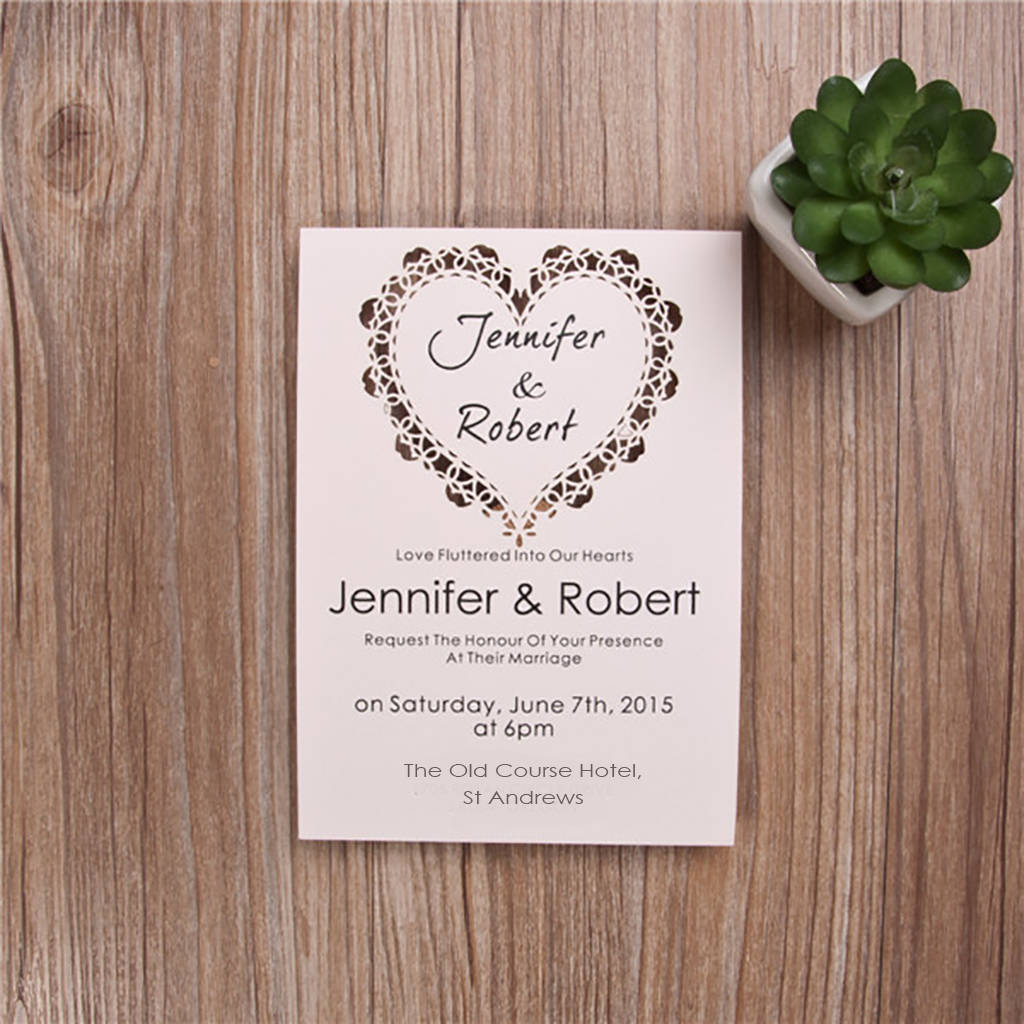 flat heart design laser cut wedding invites by shindigg