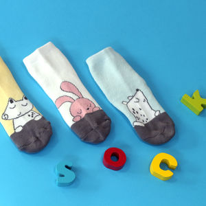 Cute Woodland Animals Baby Kids Ankle Socks Three Pairs - children's socks