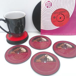 Personalised Vinyl Coasters Hmv Set Of Four Lp's
