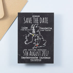 Chalkboard Style Map Save The Date