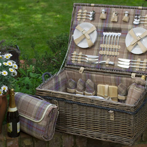 Personalised Lavender Tartan Picnic Hamper For Six - home sale