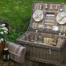 Personalised Lavender Tartan Picnic Hamper For Six