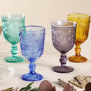 Set Of Four Luxury Embossed Coloured Glassware