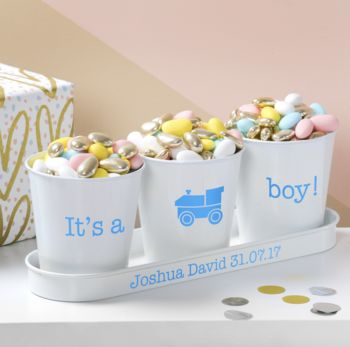 Personalised Baby Announcement Pots In A Tray