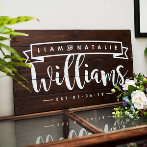 Personalised Couple Name And Date Wooden Sign Artwork - best wedding gifts