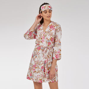Short Cotton Robe In 'White Beautiful' Rose Print