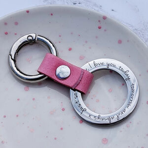 Personalised Message Leather Hoop Keyring For Her