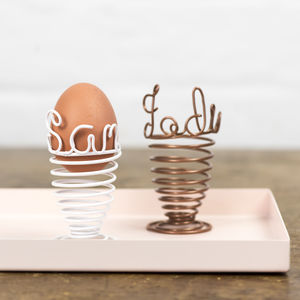 Personalised Wire Spiral Egg Cup - stocking fillers