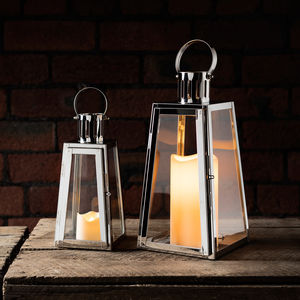 Set Of Two Stainless Steel Trapeze Lanterns - candles & home fragrance