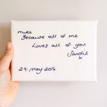 Personalised Embroidered Handwriting Canvas