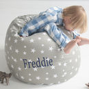 Personalised Grey Star Print Beanbag