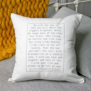 Personalised Baby Wish Cushion - living room