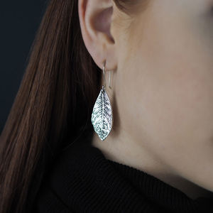 Large Leaf Silver Earrings