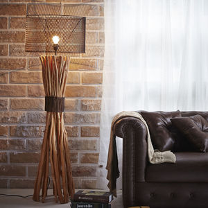 Bunched Twig Floor Lamp With Metal Mesh Shade - lighting