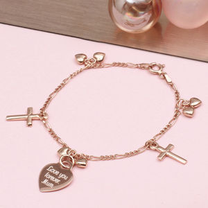 Personalised Rose Gold And Heart Charm Bracelet - children's jewellery