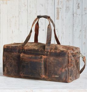 Personalised Buffalo Leather Duffle Bag - holdalls & weekend bags