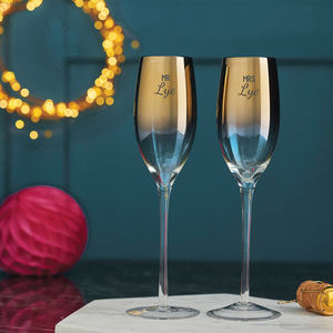 Personalised 'Mr And Mrs' Metallic Champagne Flute Set - tableware