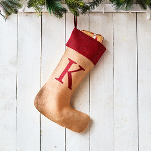 Monogrammed Natural Glitter Christmas Stocking