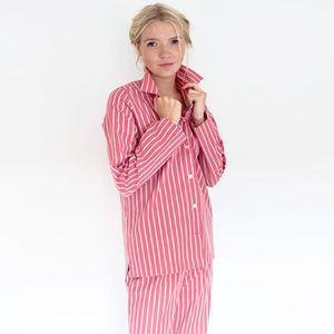 Red Or Blue Striped Cotton Pyjamas - winter sale