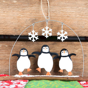 Three Christmas Penguins Hanging Decoration - christmas decorations