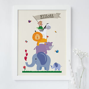 Personalised Children's Animal Nursery Print - children's room