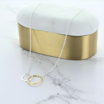 Gold And Silver Infinity Ring Necklace
