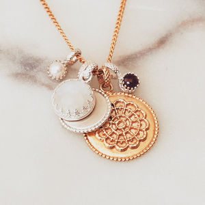 Personalised Disk Pendant With Birthstone - gifts for her