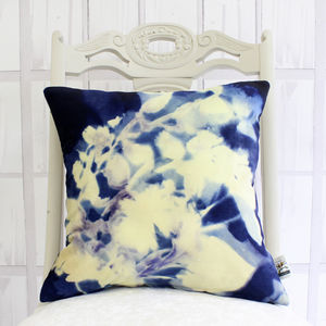 Floral Cyanotype Botanical Print Cushion - whatsnew
