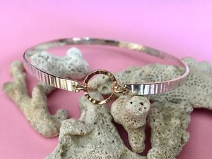 Single Hammered Bangle With Gold Links - bracelets & bangles