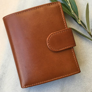 Men's Large Tan Leather Wallet With Rfid Protection