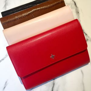 Red/ Blush Pink Nappa Leather Travel Wallet - passport & travel card holders