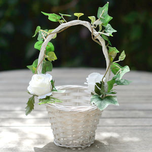 Silk Garden Rose And Woodland Ivy Flower Girl Basket - flowers, plants & vases