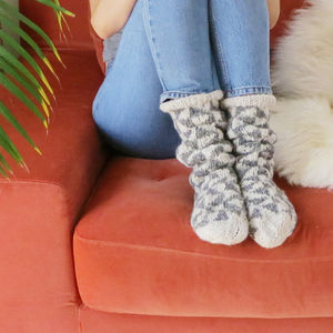 Aneka Wool Knitted Pattern Slipper House Socks - women's fashion