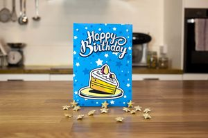 Blue Chocolate Brownie Birthday Card