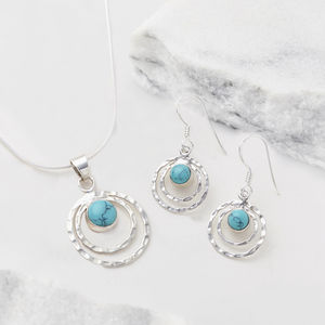 Turquoise Infinity Universe Necklace And Earring Set