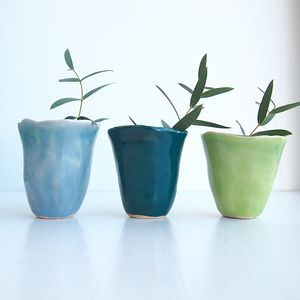 Handmade Mini Blue/Green Pottery Flower Vase - kitchen